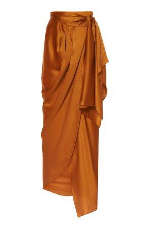 Cavorting Draped Silk-Satin Wrap Midi Skirt by Johanna Ortiz | Moda Operandi