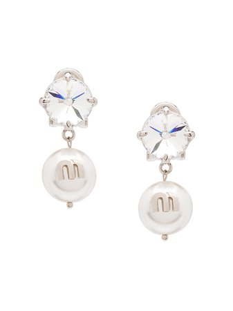 Shop white Miu Miu Solitaire Jewels earrings with Express Delivery - Farfetch