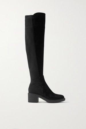 45 Suede And Neoprene Knee Boots - Black