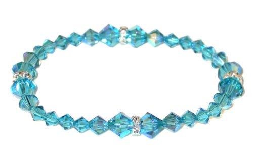 INDICOLITE TEAL Crystal Stretch-on Bracelet Swarovski Elements | eBay