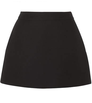 Wool And Silk-blend Mini Skirt - Black