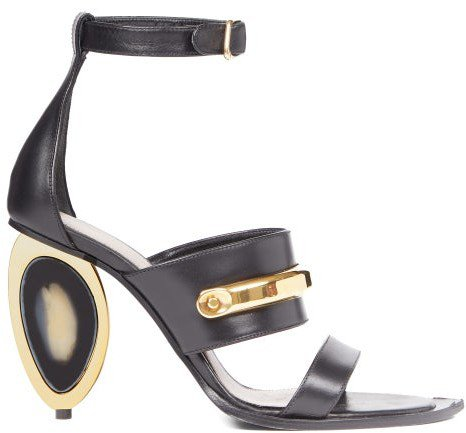 Oval-heel Leather Sandals - Black