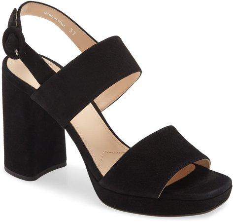 Block Heel Suede Sandal