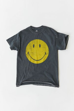 Smiley Be Happy Washed T-Shirt Dress   Urban Outfitters