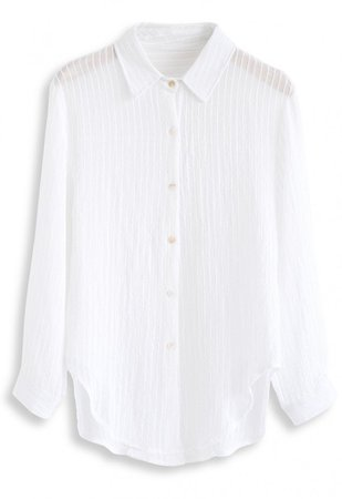 Stripe Texture Button Down Sleeves Shirt in White - NEW ARRIVALS - Retro, Indie and Unique Fashion