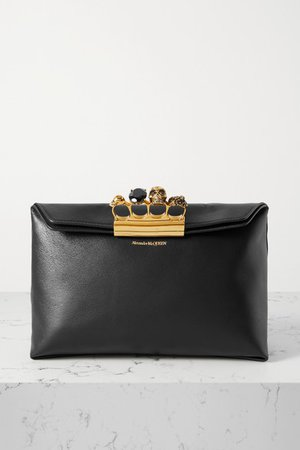 Four Ring Embellished Leather Pouch - Black