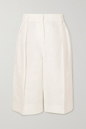 Pleated Linen-twill Shorts - White