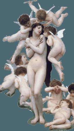 woman with cherubs