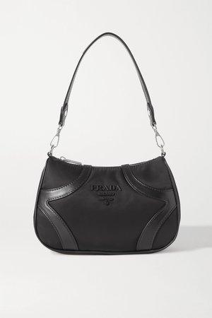 Black Leather-trimmed nylon shoulder bag | Prada | NET-A-PORTER