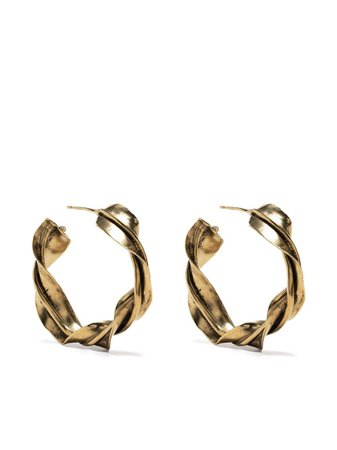 Saint Laurent twisted hoop earrings gold 638241Y1500 - Farfetch
