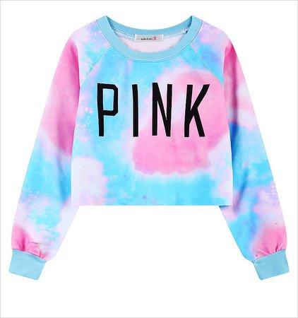 Pink Blue tie dye sweater