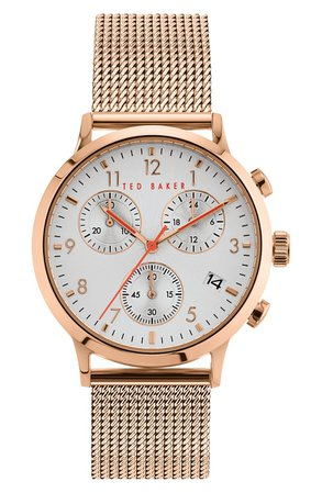 Ted Baker London Cosmop Chronograph Mesh Strap Watch, 41mm