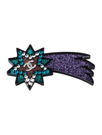 Chanel Resin & Strass CC Shooting Star Brooch - Brooches - CHA350412   The RealReal