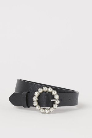 Beaded-buckle Belt - Black