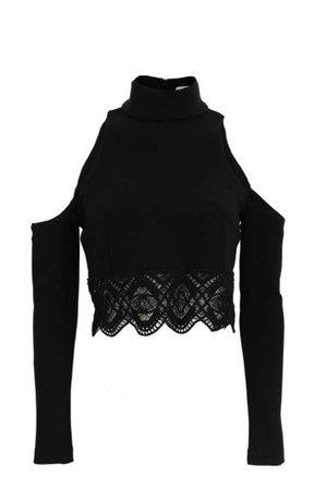 Black Shoulder Cut Crop Top