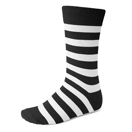 Men's Black and White Striped Socks at Amazon Men's Clothing store