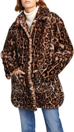 Bolton Leopard Faux Fur Coat