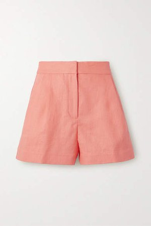 Pleated Linen Shorts - Orange
