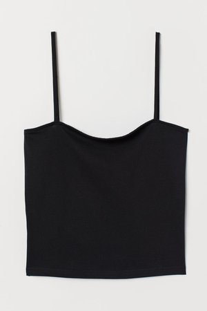 Cropped Jersey Camisole Top - Black - Ladies | H&M US