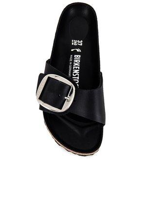 BIRKENSTOCK Madrid Big Buckle Sandal in Black   REVOLVE