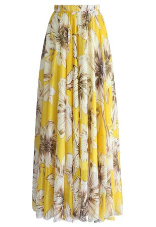 Marvelous Floral Maxi Skirt in Yellow - Retro, Indie and Unique Fashion
