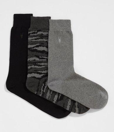 ALLSAINTS US: Mens Camo Ramskull 3 Pack Socks (cinder_black_marl)