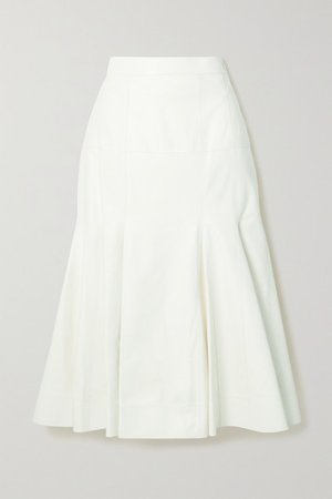 Pleated Leather Midi Skirt - White