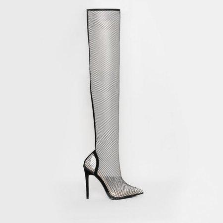 Kanya Black Clear Fishnet Thigh High Heels