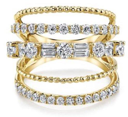 Yellow Gold Mixed Diamond Ring