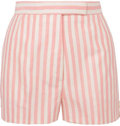 Striped Wool, Mohair And Silk-blend Shorts - Pink