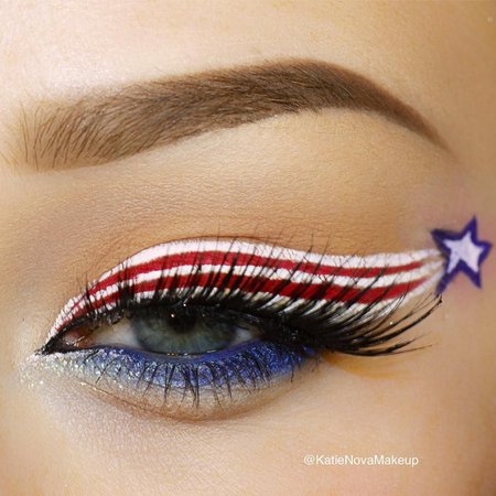 blue red white makeup - Google Search