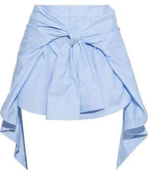Tie-front Striped Cotton-poplin Shorts
