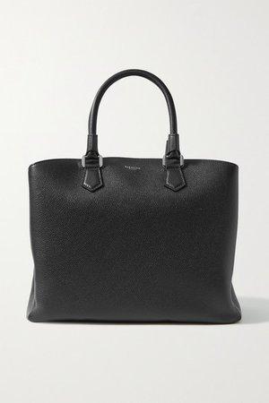 Luna Textured-leather Tote - Black