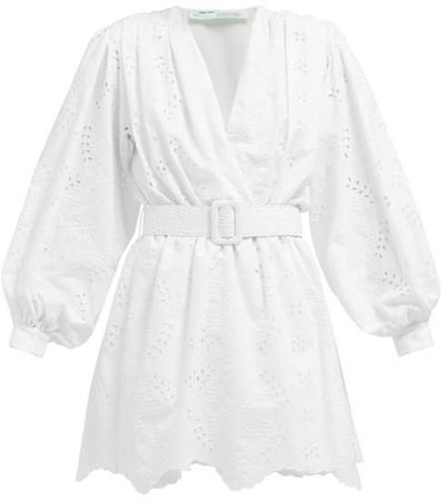 Off White Belted Broderie Anglaise Cotton Blend Mini Dress - Womens - White
