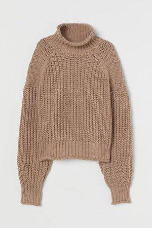 Ribbed Turtleneck Sweater - Beige - Ladies   H&M US