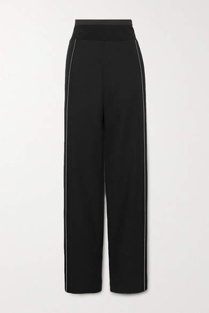 Cotton-blend Jersey And Satin-trimmed Wool Wide-leg Pants - Black