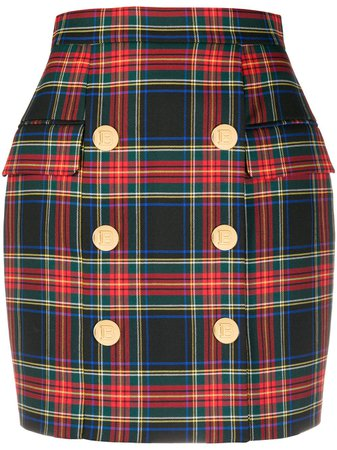 Shop red & green Balmain button-detail tartan skirt with Express Delivery - Farfetch