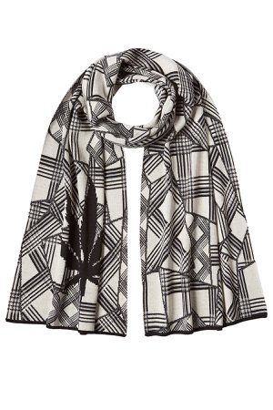 Printed Cotton Scarf with Cashmere Gr. One Size
