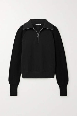 Paneled Cotton-jersey And Ribbed-knit Sweatshirt - Black