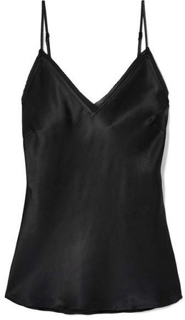 Frayed Hammered-satin Camisole - Black