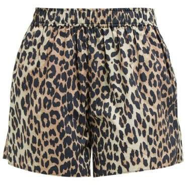 Leopard Print Cotton Poplin Shorts - Womens - Leopard