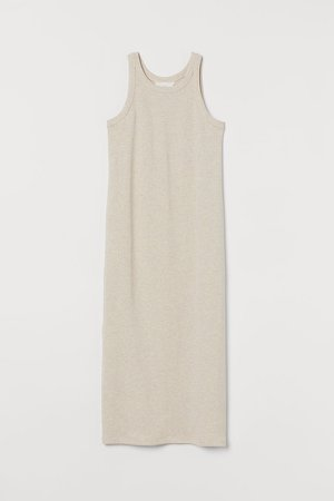 Ribbed Dress - Beige