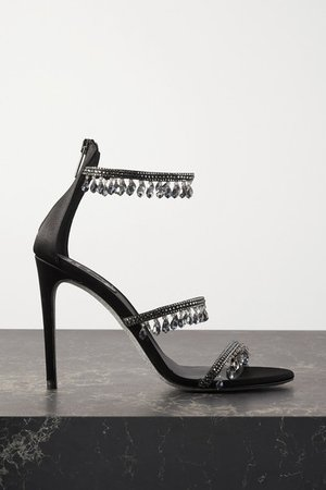 Crystal-embellished Satin Sandals - Black