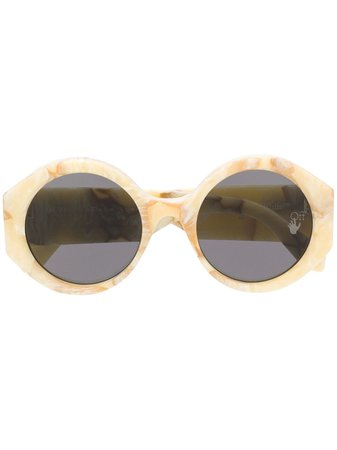 Shop Off-White marbled-effect round-frame sunglasses with Express Delivery - Farfetch