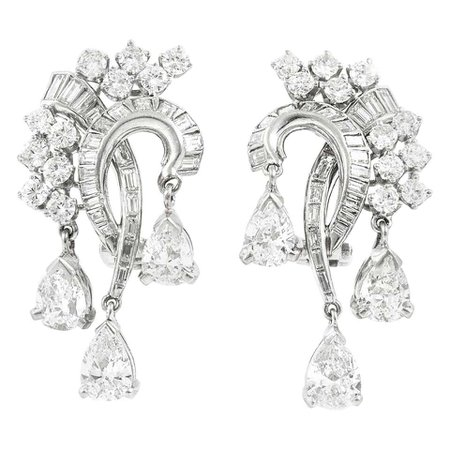 Platinum with Three Drop Pear Shape and Diamonds Earrings For Sale at 1stDibs