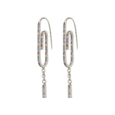 Ombre Paper Clip Earrings- Silver | Luv Aj