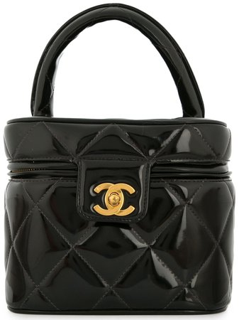Black Chanel Pre-Owned 1986-1988 Chanel quilted CC cosmetic vanity hand bag - Farfetch
