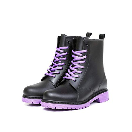 Amazon.com | Heng Rui Womens Lace Rain Boots Anti-Slip Waterproof Fashion Rain Shoes for Lady(Purple Sole, 7 B(M) US/E8) | Snow Boots