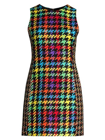 Alice + Olivia Coley Multicolor Houndstooth Dress on SALE | Saks OFF 5TH
