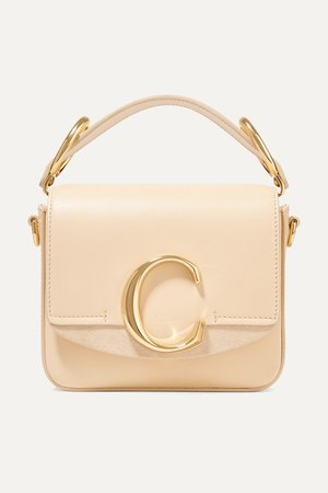 Cream Chloé C mini suede-trimmed leather shoulder bag | Chloé | NET-A-PORTER